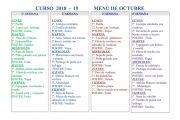 MENÚ DEL COMEDOR OCTUBRE 2018