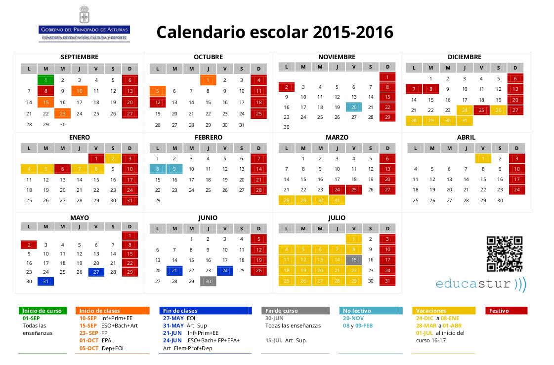 Calendario 2015 2016 | Calendar Template 2016